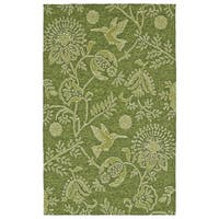 Handmade Topsail Green Fauna Polypropylene Rug (5' x 7'6)