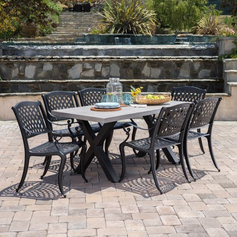 Capri Outdoor 7-piece Rectangle Light-weigt Concrete Dining Set by Christopher Knight Home