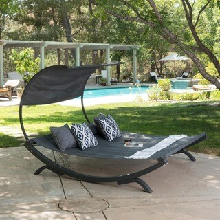 Marrakech Outdoor Wood Sunbed with Canopy by Christopher Knight Home (2 options available)