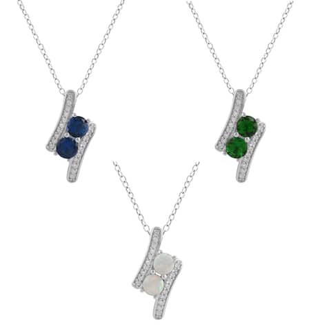 Divina Sterling Silver 3/8ct TGW Gemstone Fashion Two-Stone Pendant.