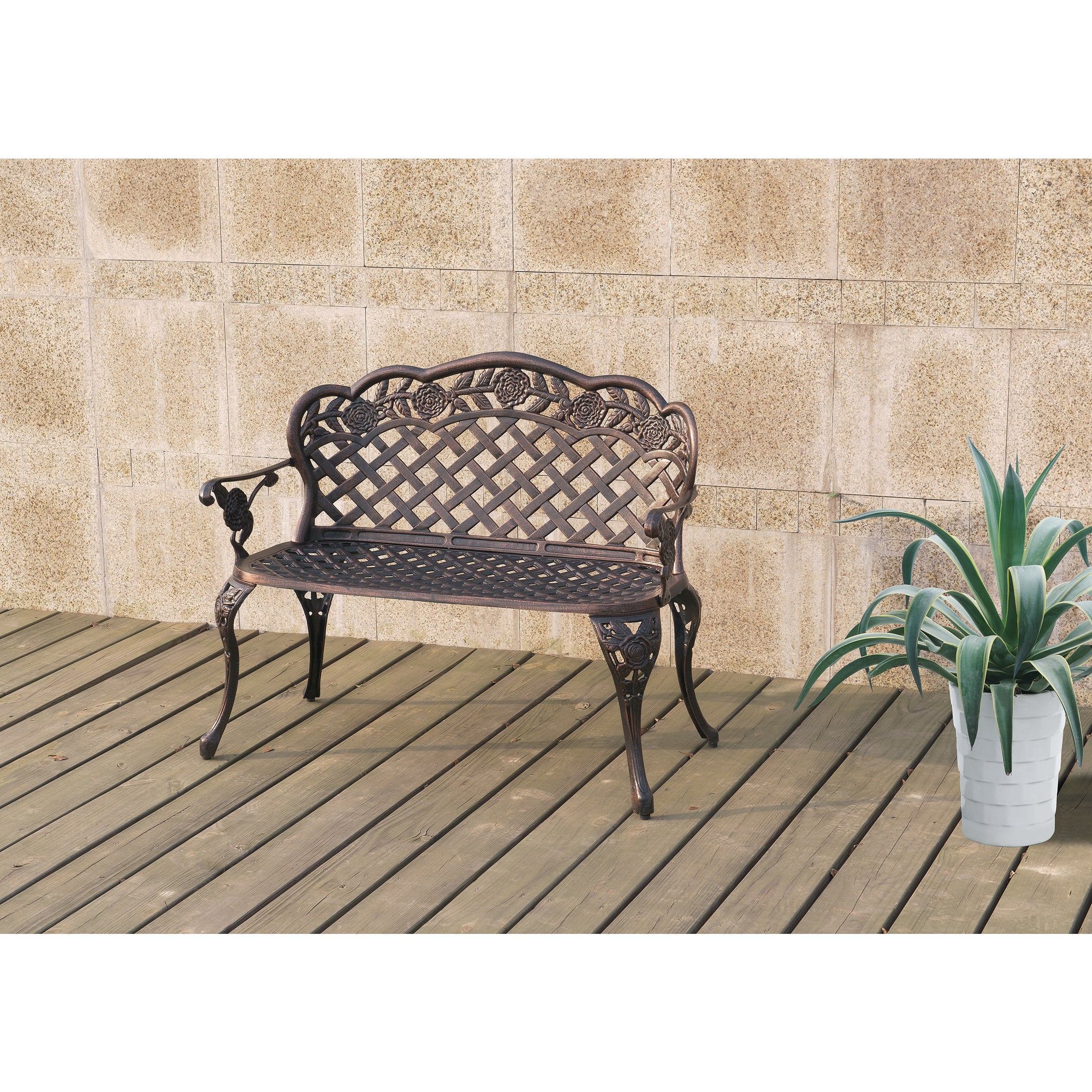 Poundex Lizkona All-Weather Outdoor Metal Bench (Bronze),...