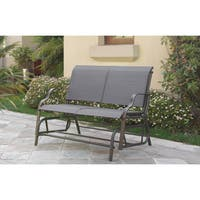Poundex Lizkona All-weather Steel and Fabric Outdoor Glider Loveseat