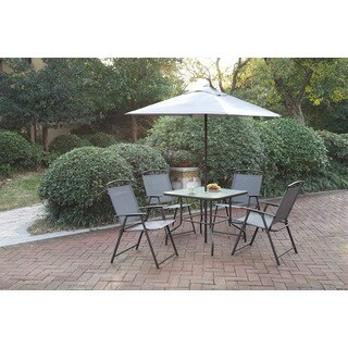 Poundex LIZKONA All-Weather 6-PCS Outdoor Steel-Frame Dining Set With Umbrella|https://ak1.ostkcdn.com/images/products/16277394/P22640996.jpg?_ostk_perf_=percv&impolicy=medium