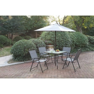 Poundex LIZKONA All-Weather 6-PCS Outdoor Steel-Frame Dining Set With Umbrella|https://ak1.ostkcdn.com/images/products/16277394/P22640996.jpg?impolicy=medium