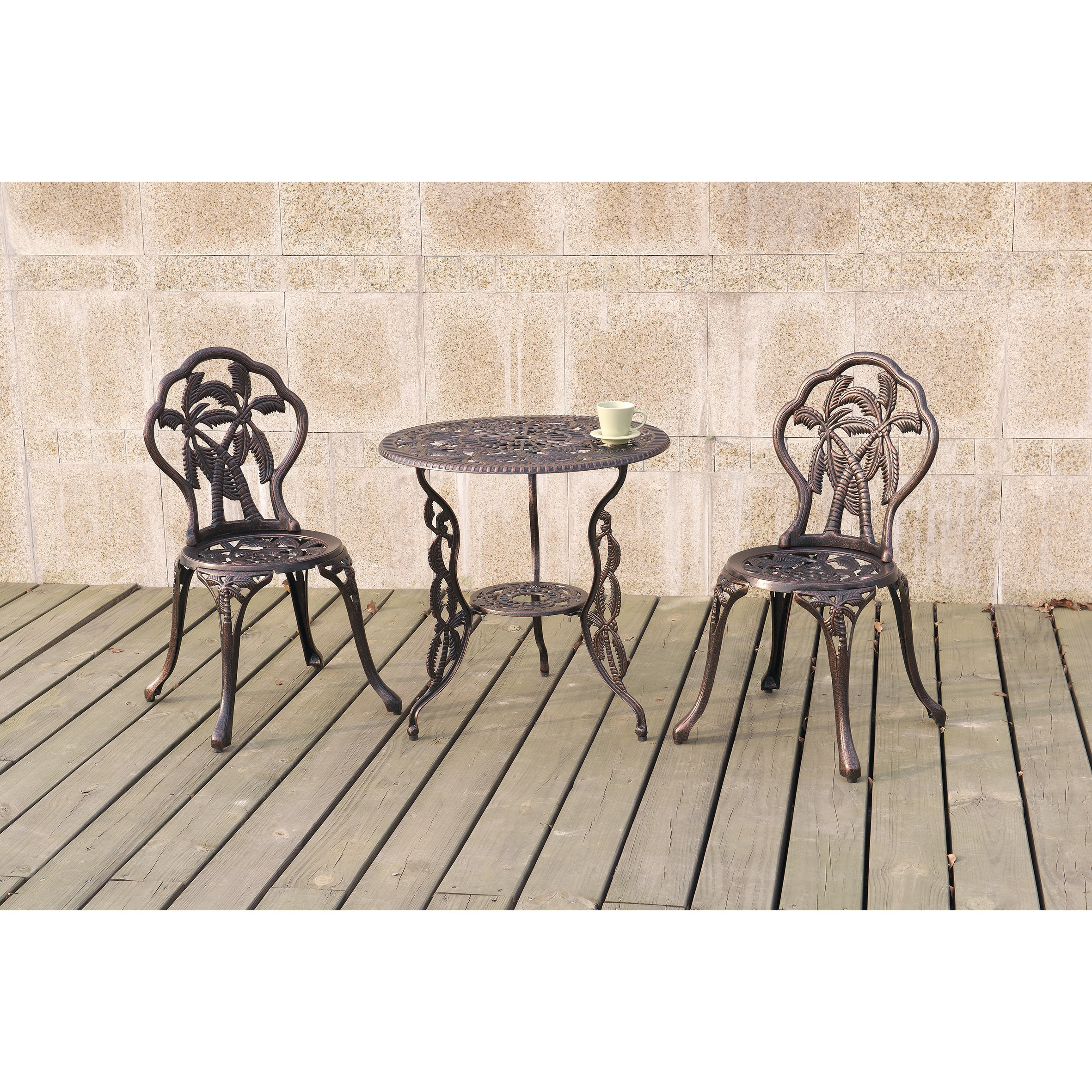 Poundex Lizkona Metal All-Weather 3-piece Outdoor Bistro ...