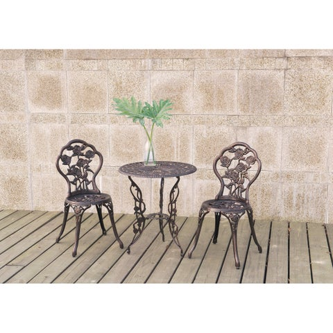 Poundex Lizkona All-weather 3-piece Metal Outdoor Bistro Set with Floral Design