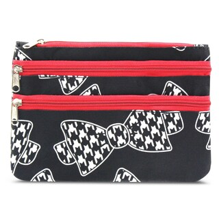 Zodaca Hounds Tooth Bow Tie Zippered Coin Purse Wallet Pouch Bag Multipurpose Travel Organizer