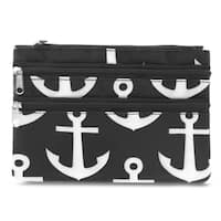 Zodaca Anchors Zippered Coin Purse Wallet Pouch Bag Multipurpose Travel Organizer