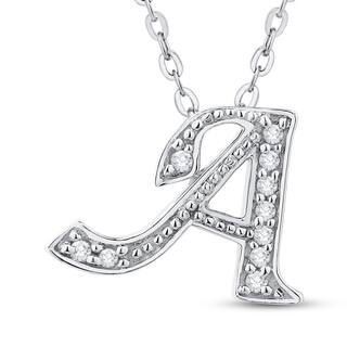 Initial diamond necklaces for less overstock 14k white gold a to z option initial diamond necklace more options available aloadofball Gallery