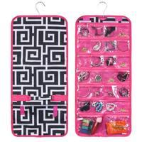 Zodaca Black Greek Key Pink Trim Jewelry Hanging Travel Organizer Roll Bag Necklace Storage Holder