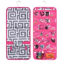 Zodaca Grey Greek Key Pink Trim Jewelry Hanging Travel Organizer Roll Bag Necklace Storage Holder