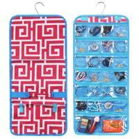Zodaca Pink Greek Key with Blue Trim Jewelry Hanging Travel Organizer Roll Bag Necklace Storage Holder