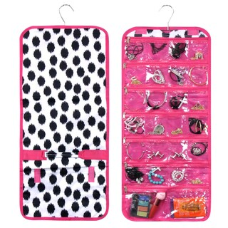 Zodaca Black Dots with Pink Trim Jewelry Hanging Travel Organizer Roll Bag Necklace Storage Holder