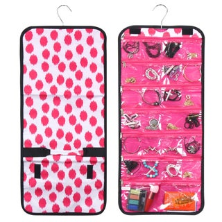 Zodaca Pink Dots with Pink Trim Jewelry Hanging Travel Organizer Roll Bag Necklace Storage Holder
