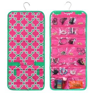Zodaca Pink Quatrefoil Jewelry Hanging Travel Organizer Roll Bag Necklace Storage Holder