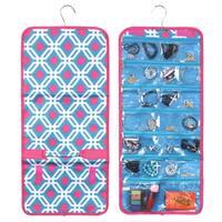 Zodaca Blue Graphic Jewelry Hanging Travel Organizer Roll Bag Necklace Storage Holder