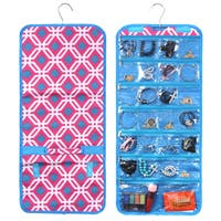 Zodaca Pink Graphic Jewelry Hanging Travel Organizer Roll Bag Necklace Storage Holder