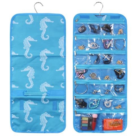 Zodaca Blue Seahorse Jewelry Hanging Travel Organizer Roll Bag Necklace Storage Holder