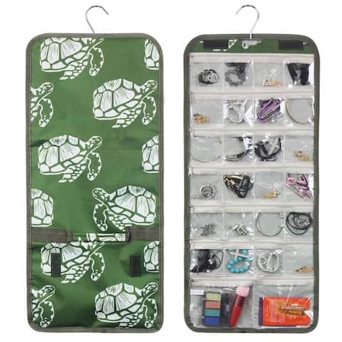 Zodaca Green Turtle Jewelry Hanging Travel Organizer Roll Bag Necklace Storage Holder