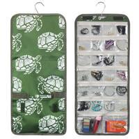 Zodaca Green Turtle Jewelry Hanging Travel Organizer Roll Bag Necklace Storage Holder