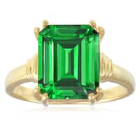18KT Yellow Gold Over Sterling Silver 4.5ct Created Emerald Solitaire Ring