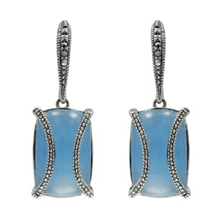 MARC Sterling Silver Earrings Set With Cabochon Rectangular Cut Blue Jade & Marcasite, accented with