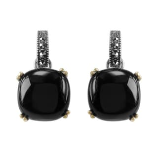 MARC Sterling Silver Earrings Set With Cabochon Cushion Cut Black Onyx & Marcasite, accented with 14K Yellow Gold Prongs