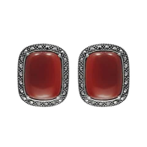 MARC Sterling Silver Cabochon Red Agate & Marcasite Earrings