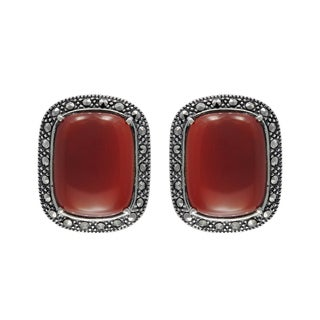 MARC Sterling Silver Earrings Set With Cabochon Rectangular Cut Red Agate & Marcasite