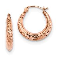 14 Karat Rose Gold Textured Hollow Hoop Earrings