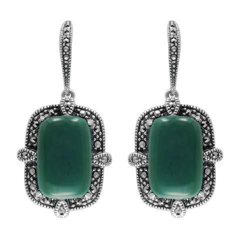 MARC Sterling Silver Cabochon Green Agate & Marcasite Earrings