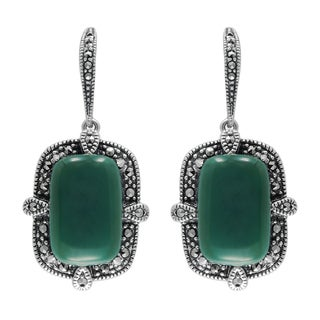 MARC Sterling Silver Earrings Set With Cabochon Rectangular Cut Green Agate & Marcasite