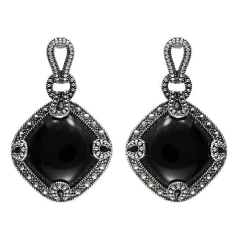 MARC Sterling Diamond-shaped Cut Black Onxy & Marcasite Earrings