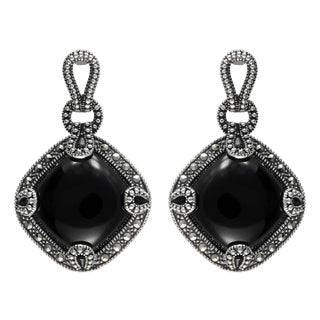 MARC Sterling Silver Earrings Set With Cabochon Diamond-shaped Cut Black Onxy & Marcasite