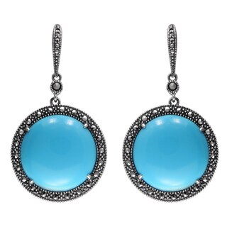 MARC Sterling Silver Earrings Set With Cabochon Round Cut Imitation Turquoise & Marcasite