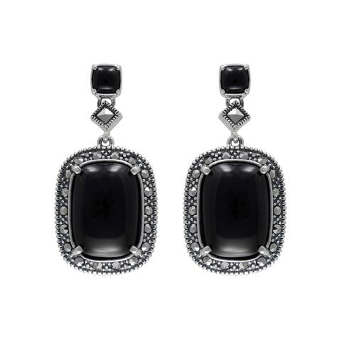 MARC Sterling Silver Cabochon Black Onyx & Marcasite Earrings