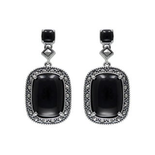 MARC Sterling Silver Earrings Set With Cabochon Cushion Cut Black Onyx & Marcasite