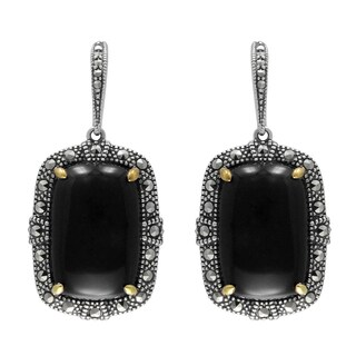 MARC Sterling Silver Earrings Set With Cabochon Rectangular Cut Black Onyx & Marcasite, accented wit