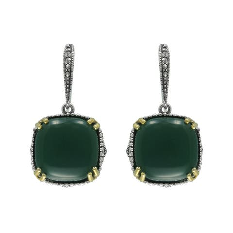 MARC Sterling Cushion Green Agate & Marcasite w/ Gold flash Earrings
