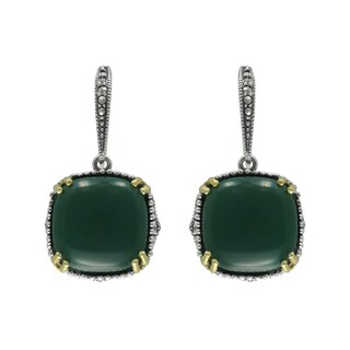 MARC Sterling Silver Earrings Set With Cabochon Cushion Cut Green Agate & Marcasite, accented with 1