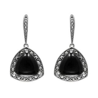 MARC Sterling Silver Earrings Set With Cabochon Triangle Cut Black Onyx & Marcasite
