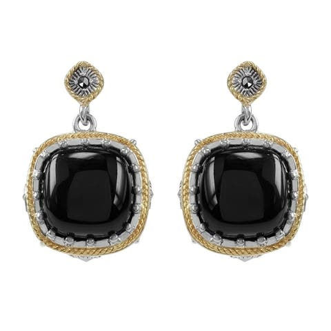 MARC Sterling Cabochon Black Onxy & Marcasite w/ Gold flash Earrings