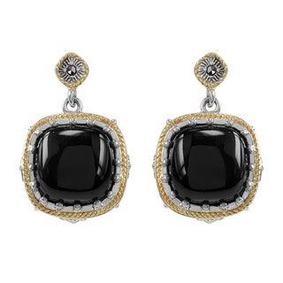 MARC Sterling Silver Earrings Set With Cabochon Cushion Cut Black Onxy & Marcasite, accented with 14K Yellow Gold Trim