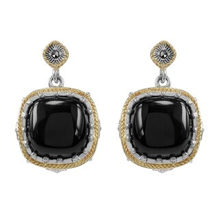MARC Sterling Silver Earrings Set With Cabochon Cushion Cut Black Onxy & Marcasite, accented with 14