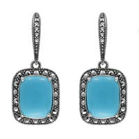 MARC Sterling Silver Earrings Set With Cabochon Cushion Cut Imitation Turquoise & Marcasite