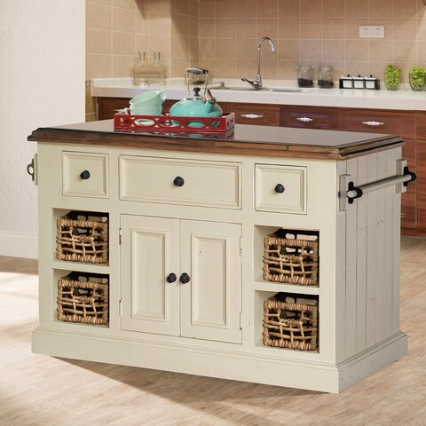 Havenside Home Mendocino Large White Finished Granite Top Kitchen Island with 2 Baskets