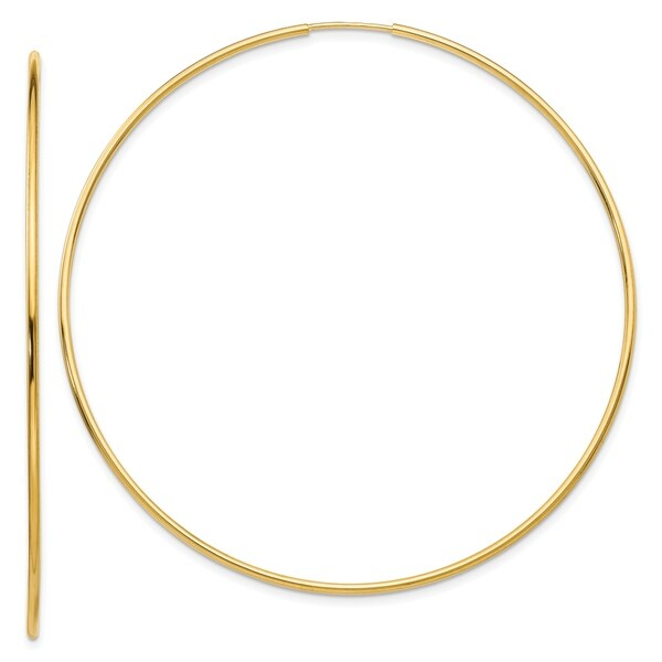 14K Yellow Gold Polished Endless Tube Hoop Earrings by Versil. Opens flyout.