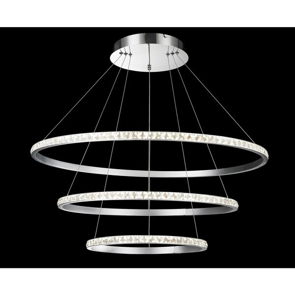 Modern Design Crystal Round Triple Floating LED Chandelier