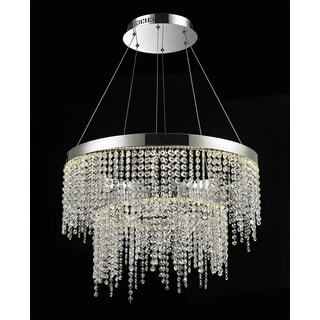Crystal Roc Stainless Steel and Clear Crystal Double Tier Chandelier