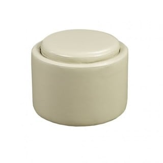 Brassex Cream Faux-leather Storage Ottoman with Reverse Tray